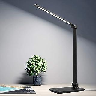 چراغ میز کار LED ، چراغ میز کنترل لمسی با 3 سطح روشنایی ، چراغ دفتر قابل تنظیم با بازوی قابل تنظیم ، چراغ میز تاشو میز کار برای اتاق خواب اتاق خواب اتاق مطالعه اتاق ، 5000K ، 8W ، سیاه