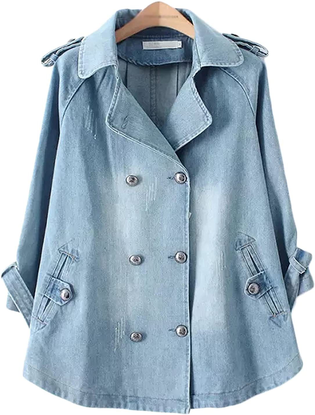 Jenkoon Women's Loose Fit A-line Double Breasted Wased Denim Jackets Distressed Ripped Jean Coat