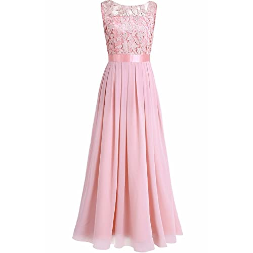YiZYiF Elegante Damen Kleid Spitzen Abendkleid Cocktailkleid Partykleider  Festliche Hochzeit Brautjungfernkleid Chiffon Langes Maxi Kleider Gr 9f516fd939
