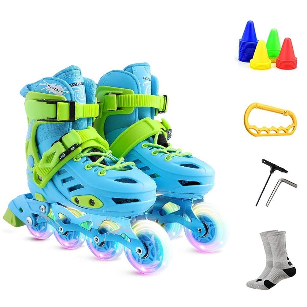 ネックレット切り下げ傾斜ZHANGHAIMING 子供、男の子および女の子のためのインラインスケート初心者のための調節可能な単一行スケート3-12歳、ブルーピンク (Color : Blue, Size : M (31-34))