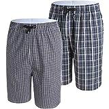 JINSHI Hombre Pijama Pantalones Cortos de Algodón Elástico a Cuadros Ropa de Salón Noche Dormir 2 Pa...
