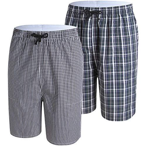 JINSHI Schlafhose Herren Kurz Baumwolle Pyjamahose Karierte Nachtwäsche Loungewear Freizeit Schlafanzughosen 2er Pack XL