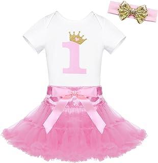 53c615e0ec9a0 Freebily Ensemble Vêtement 1er Bébé Filles T-Shirt Body Imprimé à Manche  Courte + Tutu