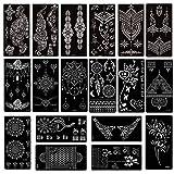 Xmasir 20 Sheets Henna Tattoo Stencil Kit,Temporary Tattoo Templates Indian Arabian Self Adhesive Tattoo Sticker for Face Body Art Paint