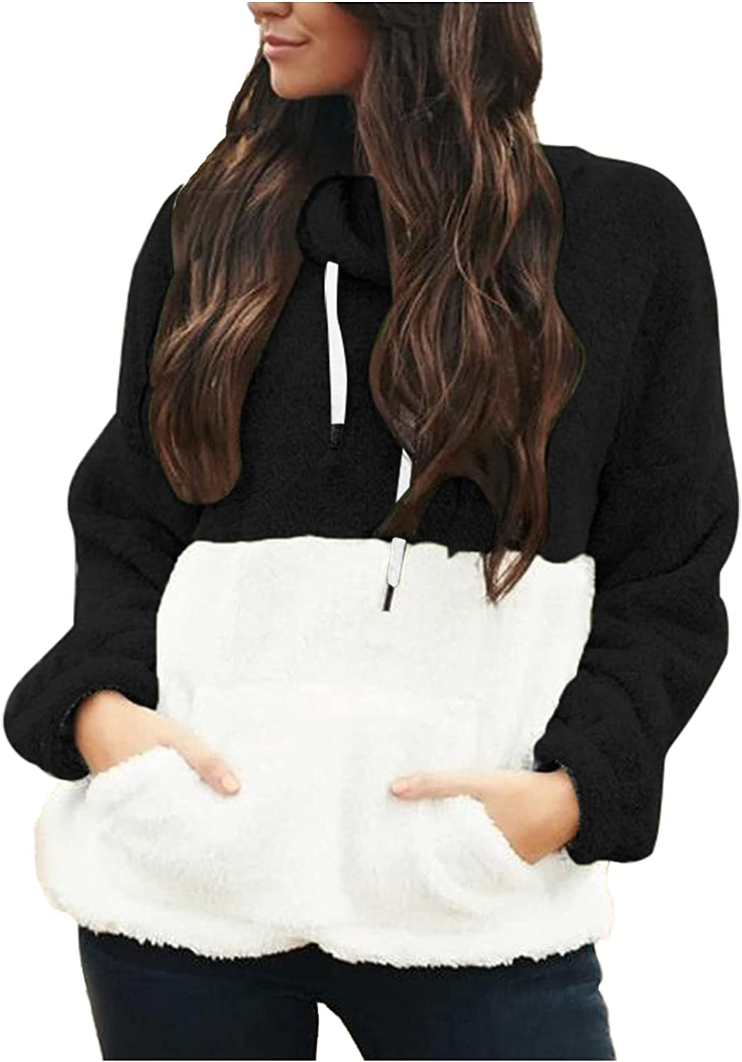 Euone_Clothes Hoodies Pullover for Women, Women's Long Sleeve Hooded Sweatshirt Warm Pocket Hoodie Pullover