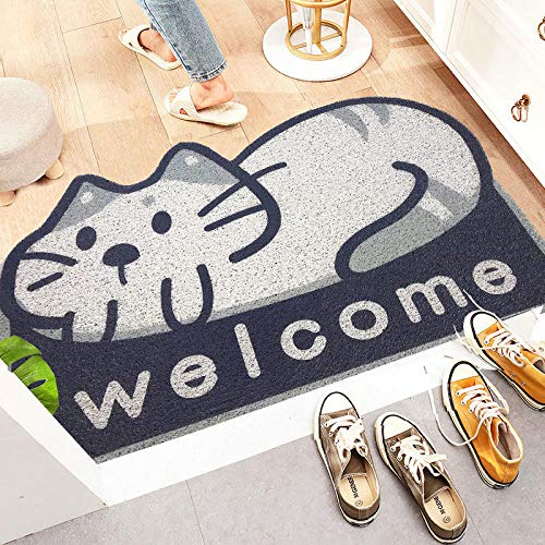 Yvelife Cartoon Animal Welcome Mat Sand Kratztür Eingang Flur Bad Rutschfester Teppich Staubentfernung Teppich Drahtschleife Fußpolster Fußmatten-TTM_45 cm x 75 cm