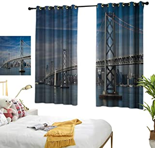 Warm Family Curtain tiebacks Apartment Decor Collection,San Francisco Bay Bridge in The Morning Historic City Structure Panoramic Picture Print,Blue Gray 72