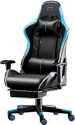 SKYE デスクチェア ゲーミングチェア オフィスチェア 椅子 仕事椅子 伸縮可能のオットマン 事務椅子 リクライニング 多機能 パソコンチェア ゲーム用チェア 耐荷重 150kg 一年無償部品交換保証 (ブルー)