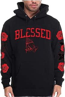 Men's Blessed Hoodie with Roses On Sleeve Blessed Designer Pullover Sweatshirt