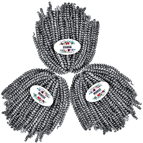 MSBELLE Ombre Spring Twist Hair 8 Inchs Spring Twist Braiding Hair 3 Packs/lot Spring Twist Crochet Hair Braids Synthetic Passion Twist Hair Extensions 110g/Pack (Silver Grey)