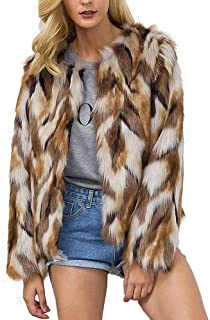Puedo Womens Chic Fluffy Faux Fur Coat Winter Warm Jacket Cardigan Long Sleeve Outerwear Tops