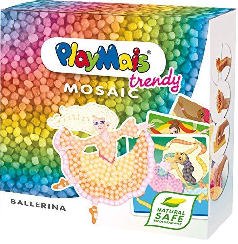 PlayMais TRENDY Mosaic Ballerina Kreativ-Set zum Basteln für Kinder ab 8 Jahren | Über 3.000 Stück & 6 Mosaik Klebebilder mit Ballerinen | Fördert Kreativität & Feinmotorik | Natürliches...