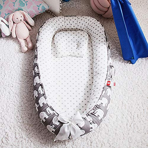 Review Ukeler Baby Lounger for Bed- Portable Baby Cribs for Newborn- 100% Cotton Newborn Portable Ba...