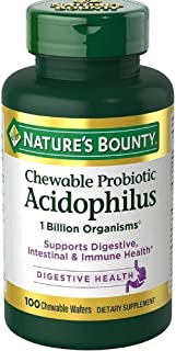 Nature's Bounty Probiotic Acidophilus With Bifidus Chewable Wafers 100 ea ( Pack of 5)