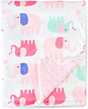 BORITAR Nursery Receiving Blankets Super Soft Minky with Double Layer Dotted Backing, Lovely Pink Elephants Printed 30 x 40 Inch