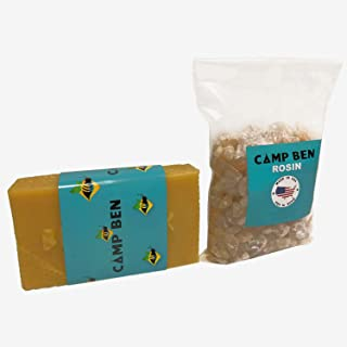 CAMP BEN DIY Beeswax Rosin Kit - (1lb Beeswax & 1lb Pine Rosin) - Make 15-25 Fun Food Wraps with Your Own Cloth - Do It Yourself Cloth Wrappers Snack Sandwich - Get Rid of Plastic Wrapping & Foil