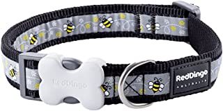 Red Dingo Bumble Bee Black Dog Collar M (20mm x 31-47cm)