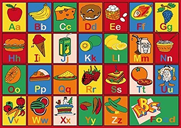 PRO RUGS Kids Educational Playtime ABC Food And Fruits Rug Non Slip Gel Back 8 Feet X 10 Feet