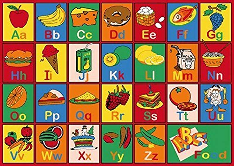 Champion Rugs Children Area Rug Carpet Mat Abc Food Educational 5 Feet X 7 Feet