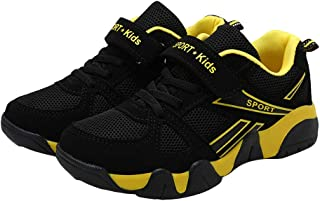 Hopscotch Boys Mesh and PU Text Print Athletic Shoes in Yellow Color