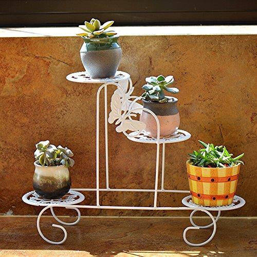QFF Cadre de fleur de fer de style européen / grilles de fleur de bureau / multi-étages salon fleurs de plateau de plantes vertes ( Couleur : Blanc )