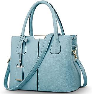 Covelin Women's Top-handle Cross Body Handbag Middle Size Purse Durable Leather Tote Bag