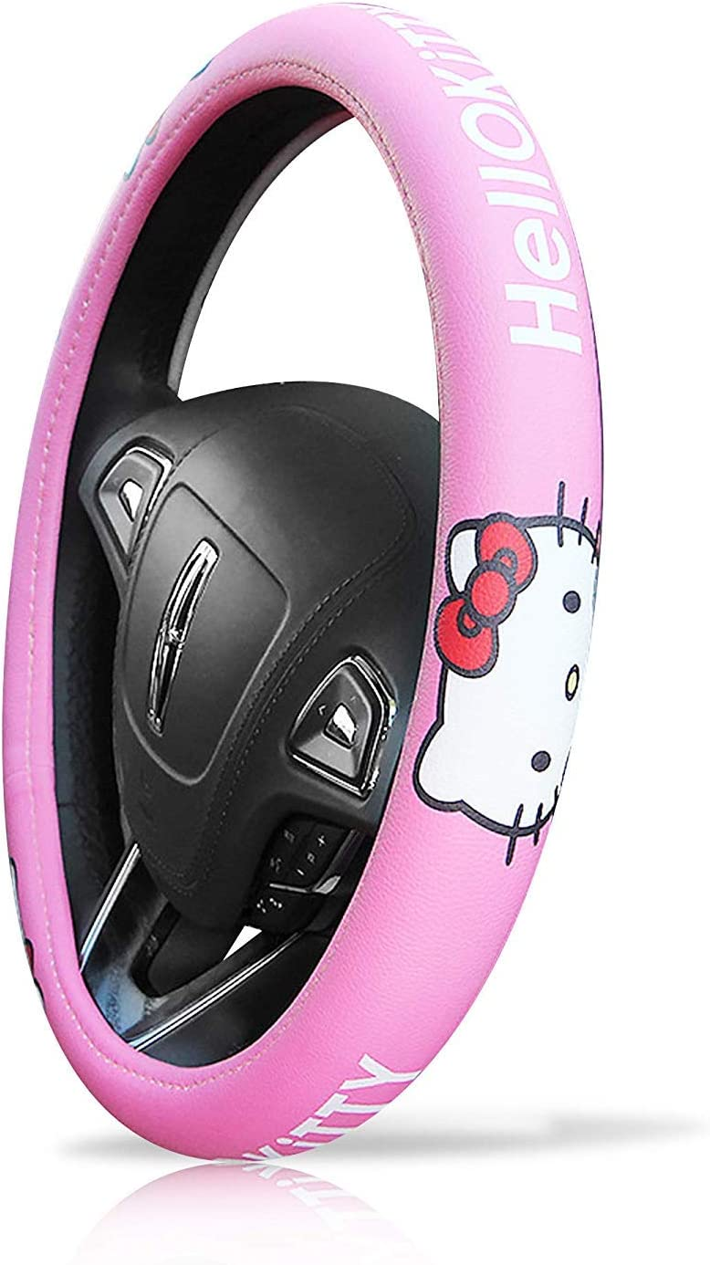 Six Kitty Heads Type eing Car Steering Wheel Cover Genuine Leather Universal 15 inch Auto Hello Kitty Interior Accessories ,Pink