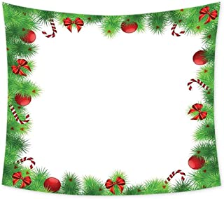 Luoiaax Christmas Hippie Tapestry Wall Hanging December Holiday Themed Collection of Xmas Themed Trinkets on Pine Tree Frame Wall Tapestry Bohemian Decor W70 x L70 Inch Fern Green Red