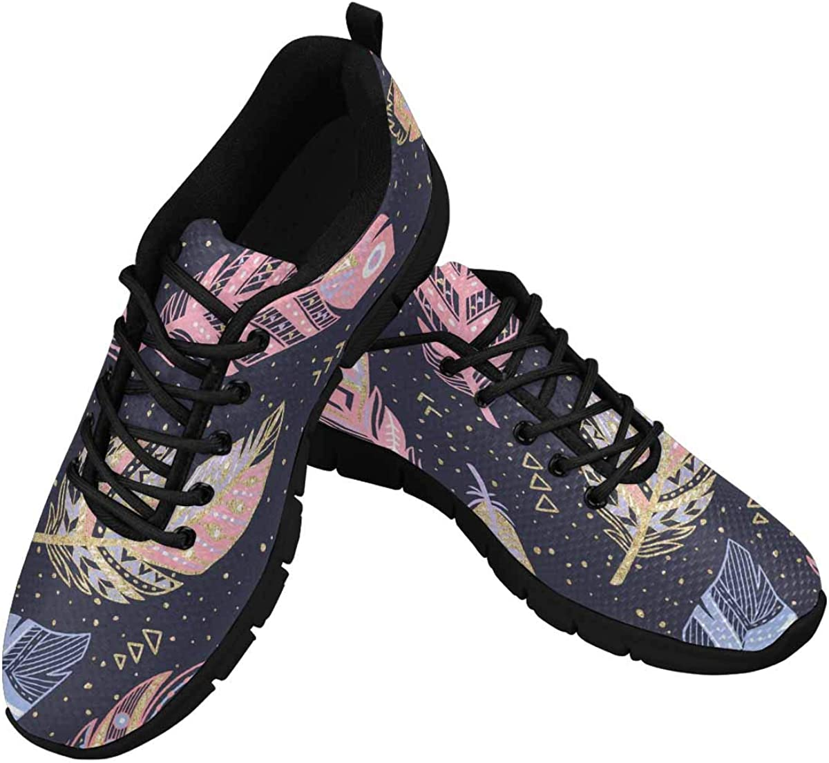 InterestPrint Colorful Feather Women's Athletic Walking Shoes Breathe Comfort Mesh