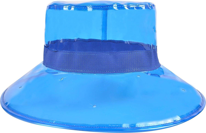 Cherrain Rain Hat Women Waterproof Rainhat PVC Transparent Wide Brim Bucket Hat Fashion Rain Cap Blue at  Women's Clothing store