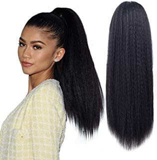 Long Kinky Srtaight Drawstring Ponytail Extensions For Black women, YAKI curly Hair extension deaw string pony tail kinky straight wig 24inch (Natural Black)