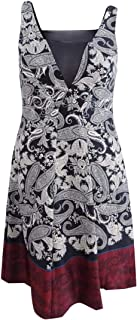 Rachel Roy Womens Paisley A-line Dress, Black, 12