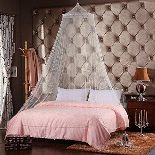 Blanc Moustiquaire ciel de lit avec pailletés Argent Filet Rideau dôme Lit double Couverture de protection contre les insectes en plein air Vacances Voyage Home