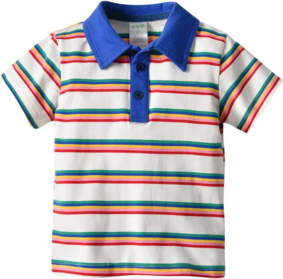 Qinni-shop Baby Toddler Boys Girls Striped Colorful Casual Polo T Shirt Sweatshirt Pullover