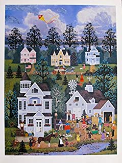 Artwork by Jane Wooster Scott The Country Auction Hand Signed Limited Ed. Lithograph Print. After the Original Painting or Drawing. Paper 26 Inches X 19.5 Inches