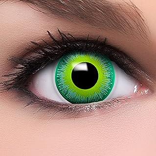407c316140 FUNZERA® Lentillas de Colores Green Alien + recipiente para lentes de  contacto, sin dioptrías