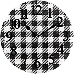 ACOVE Black and White Gingham Buffalo Plaid Round PVC Wall Clocks for Living Room Bedroom Kitchen Home Decor
