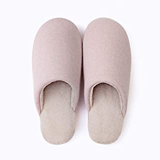 Cotton Slippers Female Men Winter Plush Lined Warm Slippers Cosy Outdoor Eva Anti Slip Slippers for Indoor Outdoor,Pink,39/40
