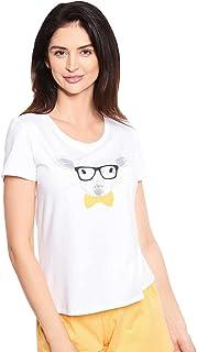 Rösch Be Happy! 1212052-11710 Women's White Motif Cotton Pyjama Top