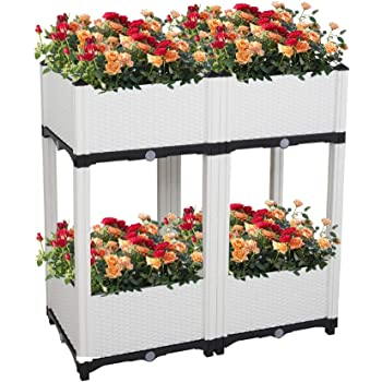 Amazon Com Ssline Set Of 4 Raised Garden Bed Kits Planting Pots Elevated Planter Box Garden Beds With Self Watering For Vegetables Fruits Herb Grow Outdoor Indoor Planting Box For Garden Patio Balcony White Home