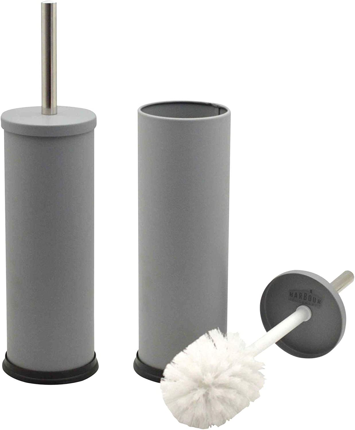 Harbour Housewares Bathroom Toilet Brush Holder Max 58% OFF Stainl Set Tulsa Mall and -