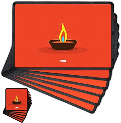 Indigifts Diwali Decoration Items Diwali Wishes Quote Red Table Mat and Coaster Set of 6 - Diwali Gift Items, Dipawali Gift Items, Dipawli Gifts, Deepawali Greetings, Deepavali Decoration