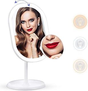 liaboe Espejo de Maquillaje led de Carga USB con Espejo Aumento 10x Espejo Cosmético de Mesa con 3 Modos de Color Rotación de 180° Interruptor de Pantalla Táctil Recargable USB