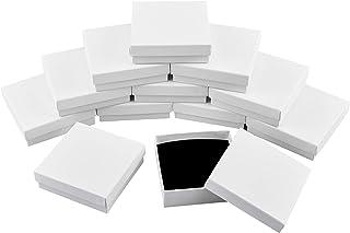 nbeads ギフトボックス 12個セット 9.1x9.2x2.9cm アクセサリー ラッピング ラッピングボックス 無地 箱 パッケージ プレゼント 正方形 包装 贈り物 ホワイト