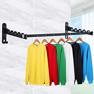 YESURPRISE Wall Mounted Clothes Hanger Rack, Folding Clothes Drying Rack Heavy Duty Drying Coat Hook Closet Storage Organizer for Laundry Bathroom Utility Area Indoor Outdoor,2 Racks with Rod (Black)