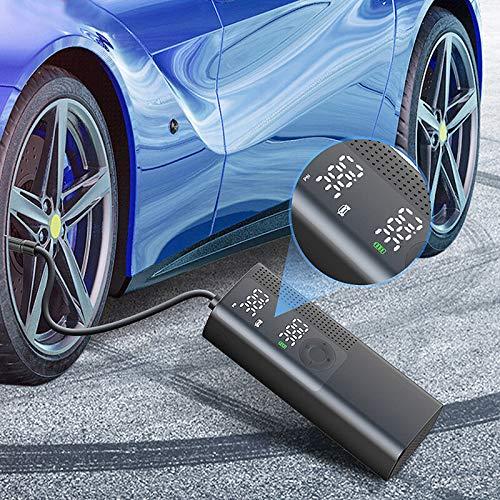 WZhen 120Psi inalámbrico coche bomba de aire digital neumáticos mini portátil hogar multifunción inflador con iluminación LED para auto pedal eléctrico