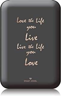 [SMART JEWEL] 【Love the life】 モバイルバッテリー 軽量 小型 薄型 かわいい おしゃれ コンパクト 5000mAh 女子用 急速充電 2台同時充電 PSE認証取得済み iPhone ipad対応 iQos対応 SSC5-MG6-BK_zq