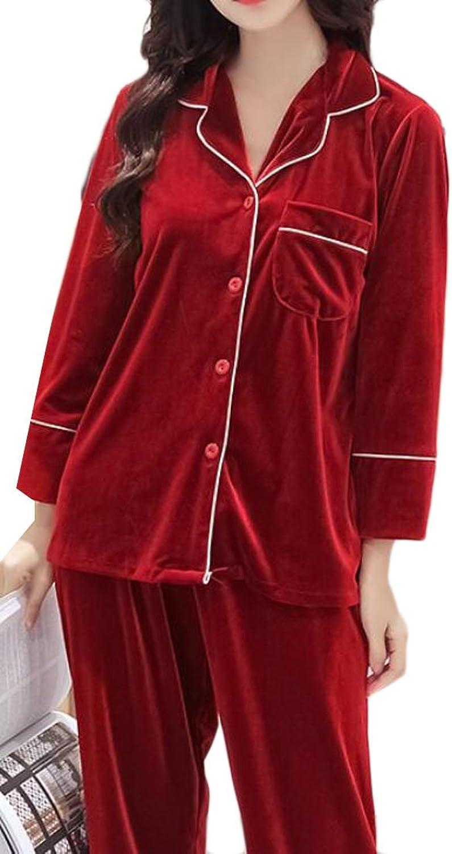 Cromoncent Womens Soft Lapel Velour ButtonFront Loungewear Pajamas Set