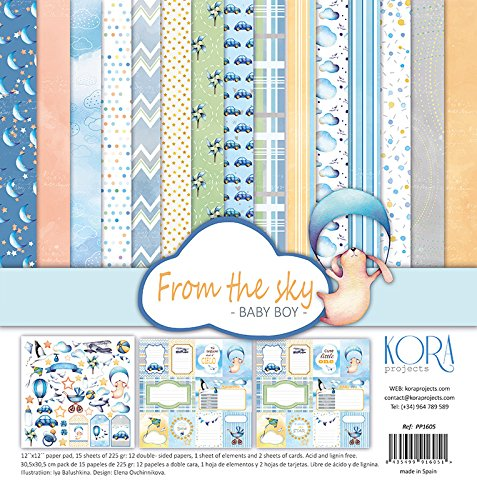 Pack (15) Papeles Scrapbooking (30,5 x 30,5 cm) - From the sky - Baby Boy