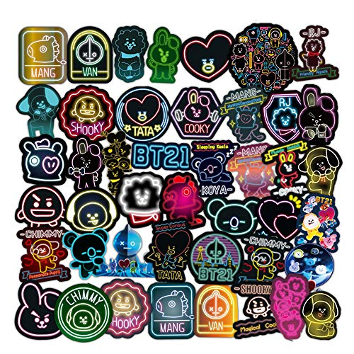 BTS 50 Stück/Packung Neon Aufkleber Variety Vinyl Auto Aufkleber Motorrad Fahrrad Gepäck Aufkleber Graffiti Patches Skateboard Aufkleber für Laptop Aufkleber für Kinder und Erwachsene (BTS)